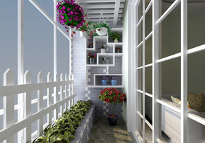 地中海风格简约时尚阳台花园装修效果图