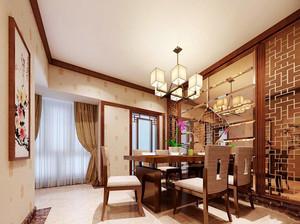 中式风格大户型餐厅隔断设计装修效果图