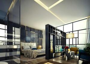 后现代风格大户型室内卧室隔断设计装修效果图