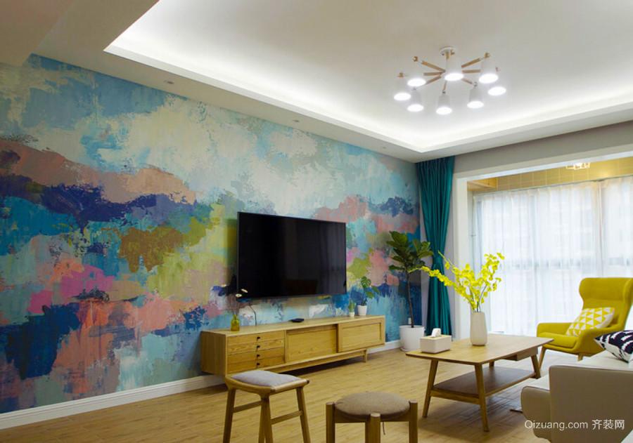 宜家风格创意客厅电视背景墙装修效果图