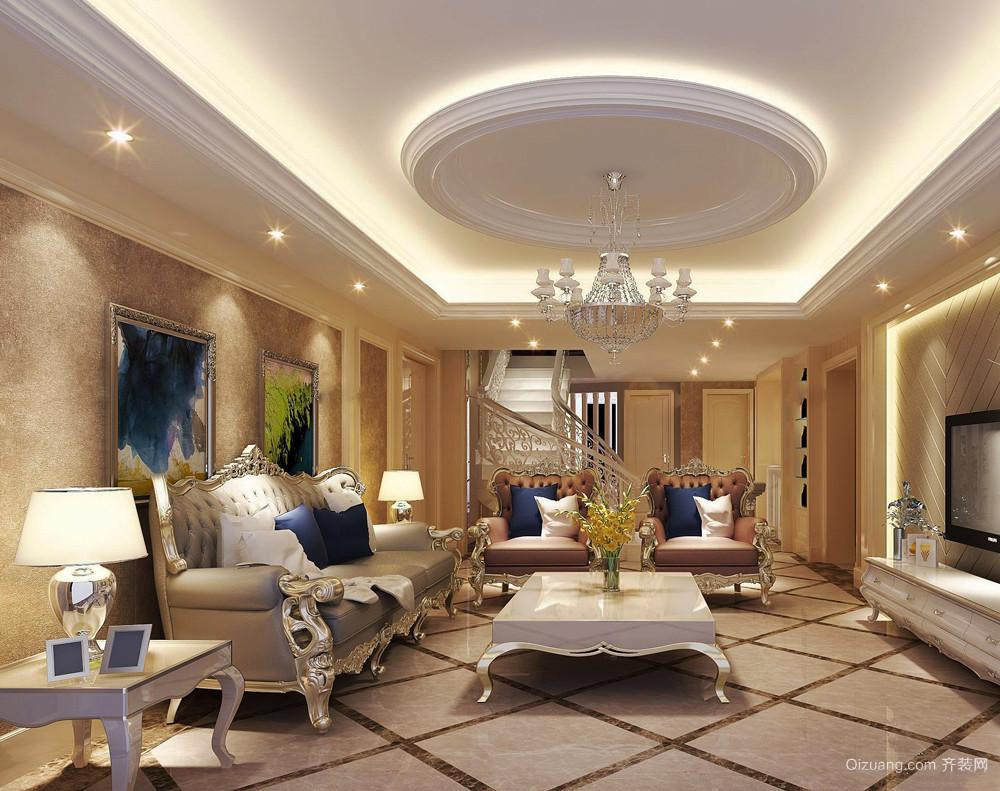 欧式风格精致奢华客厅吊顶设计装修效果图赏析