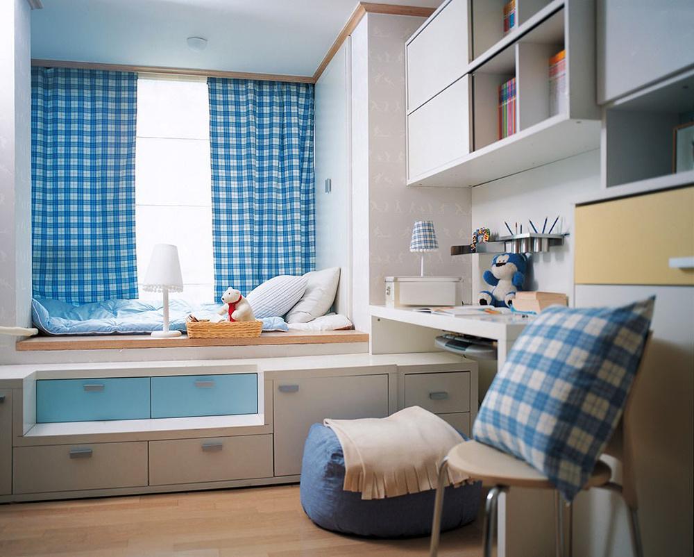 现代简约风格清新飘窗窗帘设计装修效果图