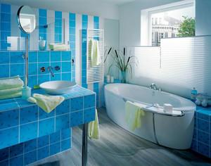 现代风格蓝色忧郁卫生间瓷砖设计装修效果图