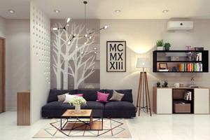 56平米现代简约风格一居室小户型装修效果图
