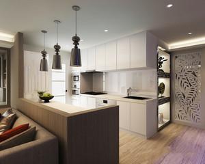 现代风格开放式厨房隔断设计装修效果图