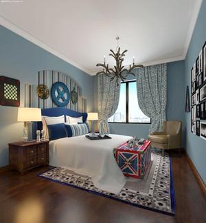 地中海风格精致卧室窗帘装修效果图