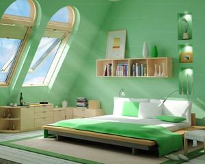 现代简约风格清新阁楼卧室装修效果图