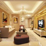 欧式风格别墅室内精美客厅吊灯设计装修效果图
