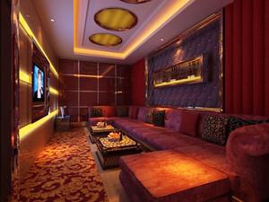 50平米复古风格KTV包房设计装修效果图