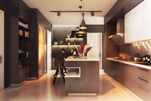 后现代风格室内灰色系开放式厨房吧台装修效果图