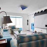 地中海风格客厅影视墙装修效果图赏析