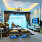 简欧风格两居室室内客厅吊顶设计装修效果图