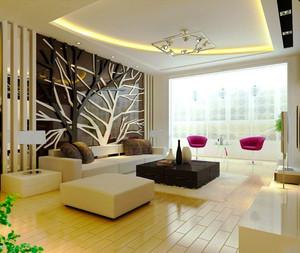 现代简约风格精美客厅背景墙装修效果图