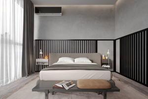 后现代风格冷色系卧室条纹背景墙装修效果图
