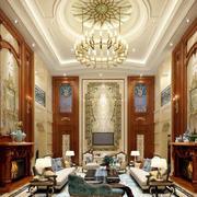 新古典主义风格低调奢华客厅吊灯装修效果图