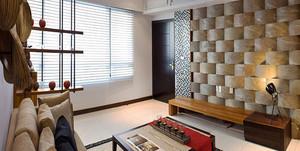 96平米新中式风格三室两厅室内装修效果图赏析