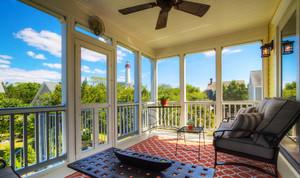 美式风格别墅封闭式阳台设计装修效果图赏析