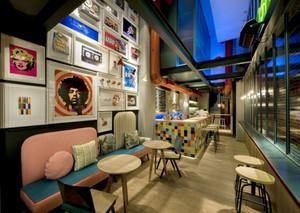 70平米现代美式风格文艺咖啡厅装修效果图