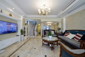 200平米复古美式风格别墅装修效果图案例
