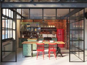 现代工业风格元素开放式厨房装修效果图大全