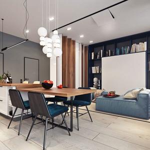 70平米现代风格冷色调单身公寓装修效果图赏析