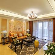 新中式风格大户型室内客厅沙发背景墙装修效果图赏析