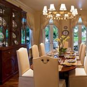 复古美式风格大户型室内餐厅酒柜设计装修效果图
