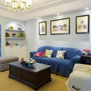 地中海风格精美客厅沙发背景墙装修效果图