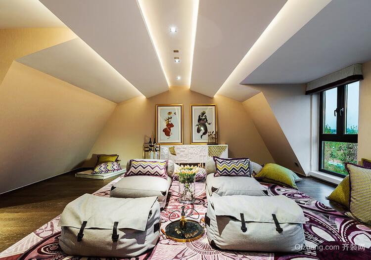 现代美式风格别墅阁楼室内装修效果图