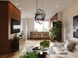 66平米现代风格公寓设计装修效果图赏析