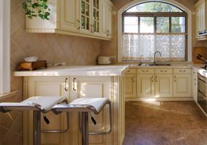 欧式田园风格开放式厨房吧台装修效果图赏析
