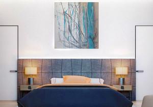 后现代风格两居室文艺卧室背景墙装修效果图