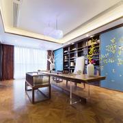 20平米新中式风格书房博古架装修效果图赏析