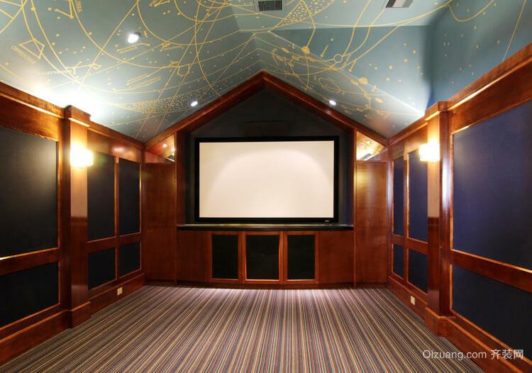 美式乡村风格别墅室内影视墙装修效果图赏析