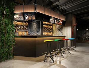 复古风格文艺时尚咖啡厅卡吧台装修效果图