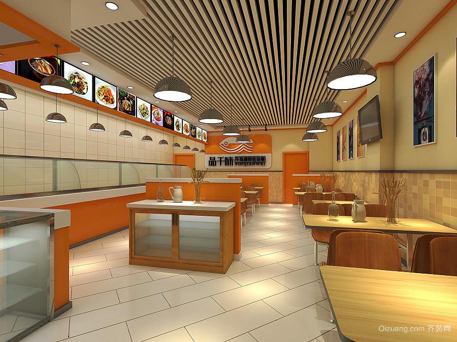 76平米现代风格快餐店座椅设计装修效果图赏析