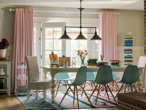现代简约美式风格餐厅窗帘设计装修效果图