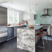 现代风格大户型室内开放式厨房吧台装修效果图