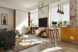 55平米现代风格温馨单身公寓装修效果图案例