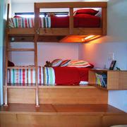 乡村风格创意儿童房双层床装修效果图