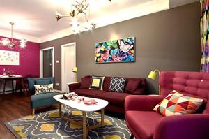 85平米时尚混搭风格两室两厅室内装修效果图赏析