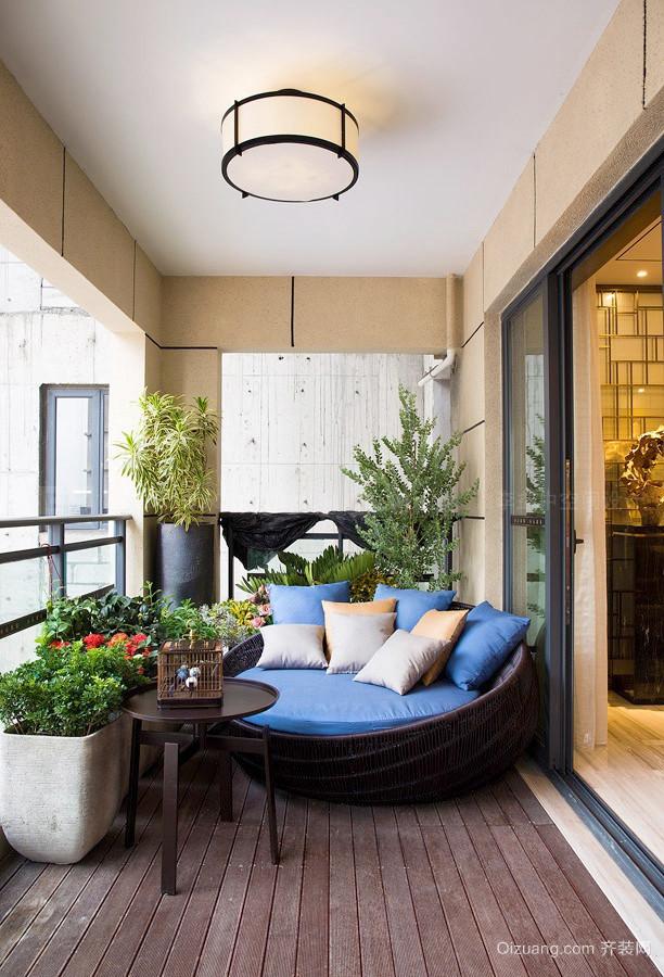 中式风格大气时尚阳台花园设计装修效果图