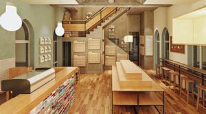 200平米文艺清新风格书店设计装修效果图