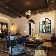 东南亚风格大户型客厅吊顶装修效果图