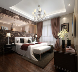 简欧风格三居室室内卧室背景墙装修效果图赏析