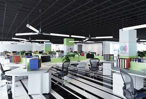 136平米现代简约风格办公室吊顶设计装修效果图