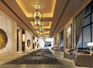中式风格五星级酒店过道设计装修效果图赏析