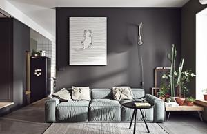 71平米北欧风格冷色调公寓装修效果图案例