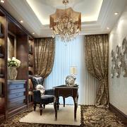 古典欧式风格别墅室内书房设计装修效果图