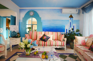 地中海风格清新时尚客厅背景墙装修效果图